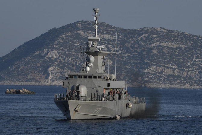 The Hellenic Navy Roussen or Super Vita class Fast Missile Patrol Boat P 71 HS Ritsos patrols off the tiny Greek island of Kastellorizo (Megisti), in the Dodecanese, the furthest south eastern Greek Island, two kilometers from the Turkish mainland on August 28, 2020. (File/AFP)