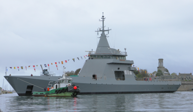 Piedrabuena, the second of four OPVs ordered by Argentina from France's Naval Group, was launched on Oct. 1 at the Piriou shipyard in Concarneau, Brittany. The first ship, L'Adroit, was refurbished and has now been commissioned into the Argentine Navy. (NG photo)