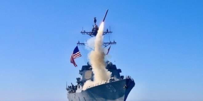 The guided-missile destroyer USS Chafee (DDG 90) launches a Tomahawk Block V cruise missile during a U.S. Navy exercise off the coast of California. Raytheon Missiles & Defense delivered the first Block V variant to the Navy on March 25, 2021. (Photo: U.S. Navy)